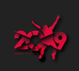 Happy New Year 2019 text with boy jumping design, Vector illustration.