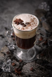 Alcoholic or non-alcoholic coffee cocktail with liqueur, whiskey, cream. Cool drink. Easy Bartenders Recipes and Ideas