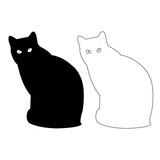Cat silhouette Vector Icon Eps, Cat Outline Vector Icon Set