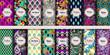 Vintage seamless patterns - 240561280