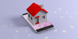 IOT, smart home concept. Small house on a mobile phone, blue background with apps signs. 3d illustration