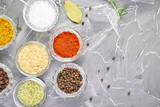 Seasoning background. Spice and herb seasoning with fresh and dried - 240572223