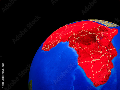 Africa from space. Planet Earth with country borders and extremely high detail of planet surface.