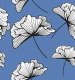 Ilustración con flores originales sobre fondo azul