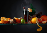 Mulled wine hot drink with citrus and spices. - 240577682