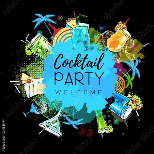 Cocktail party poster design. Cocktail menu - 240581494