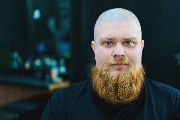Portrait of a bald red bearded man looking in camera. © stockaboo