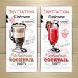 Valentine cocktail party poster. Invitation design