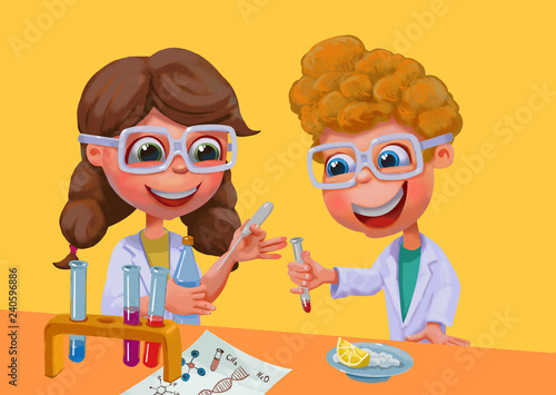 Children conduct chemical experiments. This is homework to school. Educational science activities for kids. - 240596886