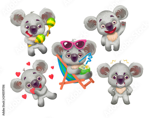 Cute gray koala in differet poses set. Cartoon animal. Isolated on white. Stickers.