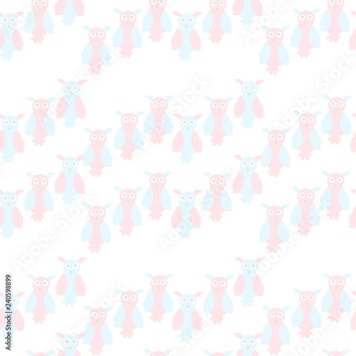 Owl cute seamless pattern for baby clothes, diapers. Pink and blue cartoons animal on white. Symmetrical design element background for web, for fabric print, textile, wallpaper, wrapping paper