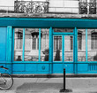 Turquoise shop windows in Montmartre neighborhood