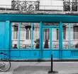 Turquoise shop windows in Montmartre neighborhood