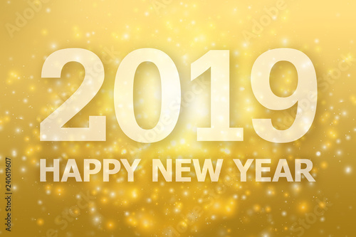 Year 2019 with gold background.