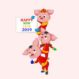 Happy New Year 2019. Chinese New Year. The year of the pig