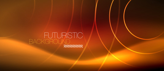 Neon glowing techno lines, hi-tech futuristic abstract background template with square shapes © antishock