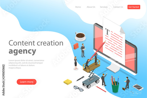 Flat Isometric Vector Landing Page Template Of Content Creating