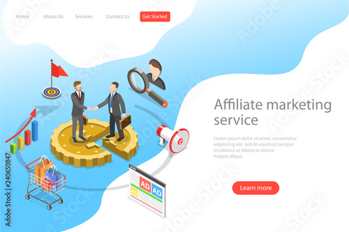 Flat Isometric Vector Landing Page Template Of Affiliate Marketing Business Strategy Referral Program