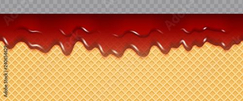 obraz lub plakat Jam Melted on Wafer Background. Transparent Cherry jam flow soft seamless texture. Vector Illustration.