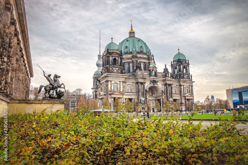 The majestic Berlin Cathedral, the building and the dome of the Protestant Cathedral in Berlin, Germany.