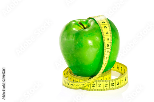 An apple with a tape. Diet.