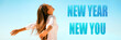 Leinwanddruck Bild - New Year New Start happy woman with open arms in freedom and carefree banner panorama. Girl healthy, well-being concept on blue background.