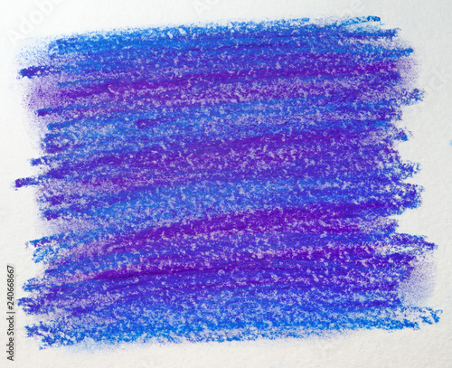 Leinwandbild Motiv pastel rectangle. crayons on paper with blue-violet texture. blot design element drawn by hand