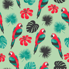 Seamless bright tropical pattern with watercolor parrots and palm leaves.
