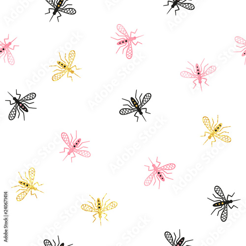 Seamless mosquito pattern. Vector background with abstract gnat. - 240671414