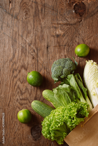 fresh vegetables in a brown paper bag