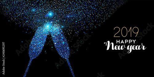 New Year 2019 blue glitter glass toast card