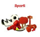 Sports attributes on a white background. Tennis racket, ball, boxing gloves, whistle, soccer shoes and ball. Isolated on white