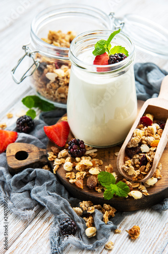 healthy breakfast, yogurt and granola - 240708665