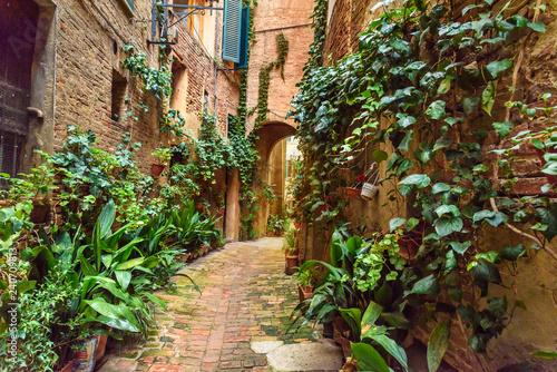 Medieval narrow street Vicolo degli Orefici in Siena, Tuscany, Italy. - 240709813