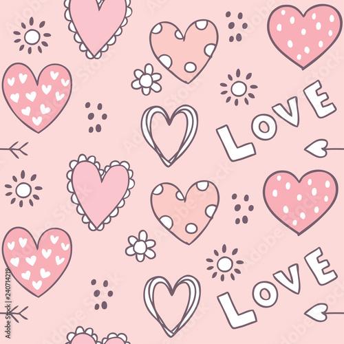 obraz lub plakat Cartoon cute Valentines day heart and love seamless pattern vector.