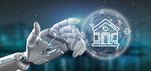 Cyborg holding Smart home interface with icon, stats and data 3d rendering © Production Perig