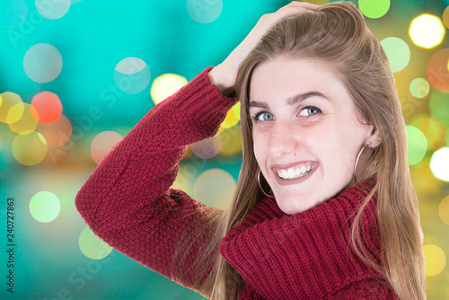 Beauty woman with perfect smile and white teeth on a street in evening - 240727863