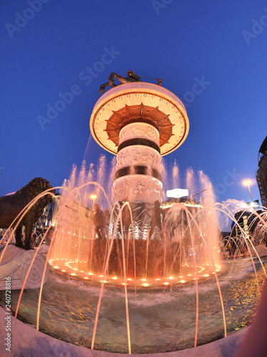 fountain skopje at night