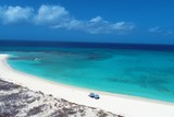 Aerial view of beach in Los Roques, caribbean sea, Venezuela
