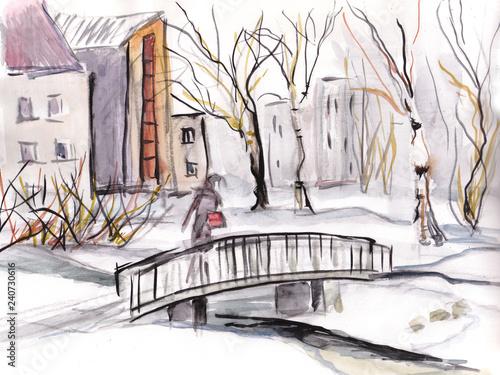 obraz PCV winter landscape, bridge in the park