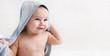 Leinwanddruck Bild - Cute little baby boy in hooded towel after bath