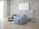 Mock up stylish lounge with gray corner sofa and hipster backdrop.
