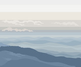 vector  of minimalism blue misty landscape with hills and mountains - 240742865