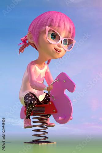 Cute toon girl swinging on - 240749406