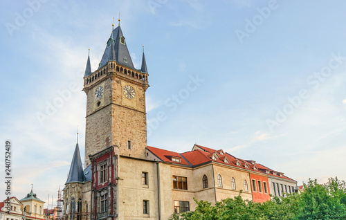 mata magnetyczna Gothic tower of the old city hall in Prague