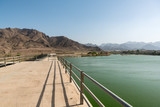 Reservoir and dam in Hatta, an enclave of Dubai in the Hajar Mountains, United Arab Emirates