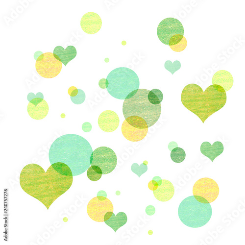 Watercolor cute background with hearts