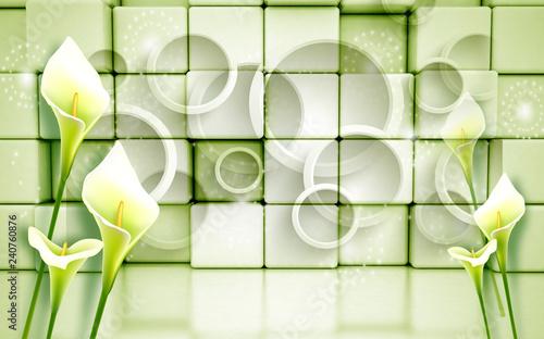 3d Green tulip flowers on metalic boxes, 3d rendering.   - 240760876