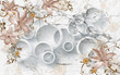 3D flowers on marble circular wallpaper, 3d rendering. - 240763893