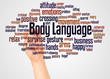 Leinwanddruck Bild - Body Language word cloud and hand with marker concept